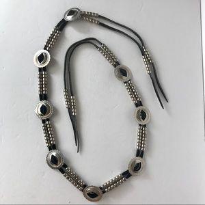 Southwest Western Silver Concho Bead Belt